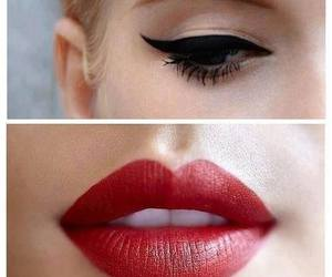 lips, red, and makeup image