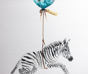 zebra, art, and balloon image