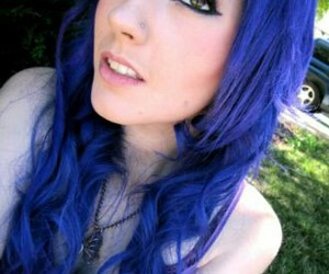 dyed hair, long hair, and blue hair image