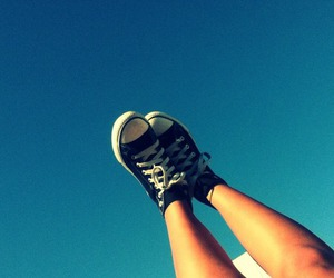 blue skies, legs, and shoes image