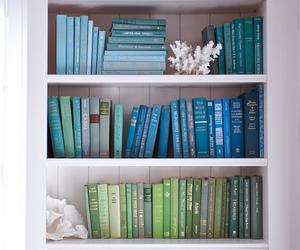 blue, books, and shelves image