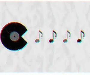 music, pacman, and notes image