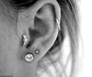 piercing, earrings, and ear image