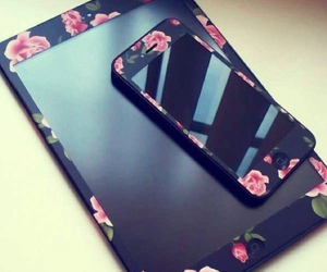 black, flowers, and ipod image