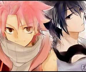grey, Nya, and fairy tail image