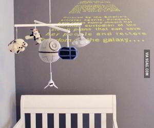 baby room, mobile, and star wars image