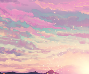 clouds, blue, and pink image
