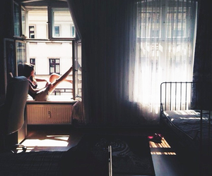 girl, dark, and window image