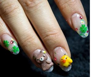baby bear, nail art, and duck image