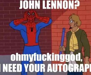 haha, spiderman, and the beatles image
