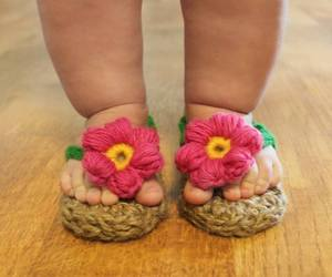baby, flowers, and feet image