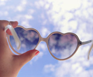 sky, heart, and sunglasses image