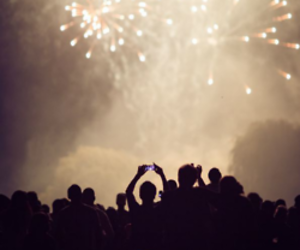 fireworks, party, and sky image