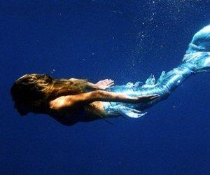 mermaid, sea, and water image