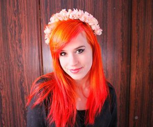 color hair, flower crown, and girl image