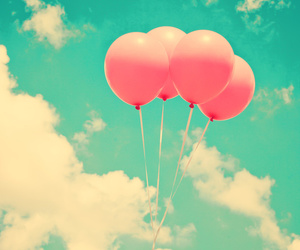 balloons, pink, and sky image