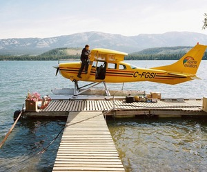 plane, adventure, and lake image