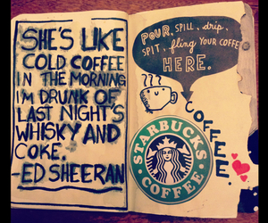 starbucks, coffee, and ed sheeran image