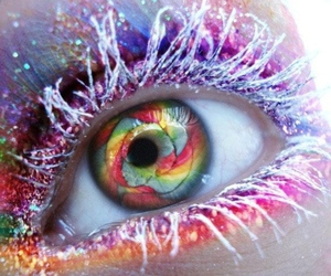 eye, eyes, and rainbow image