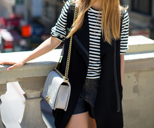 bag, blackandwhite, and outfit image
