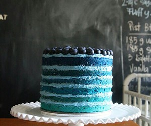cake, blue, and blueberries image