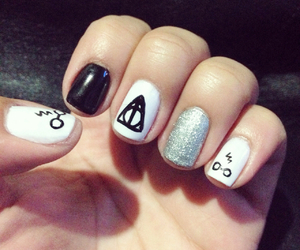 nails, harry potter, and black and white image