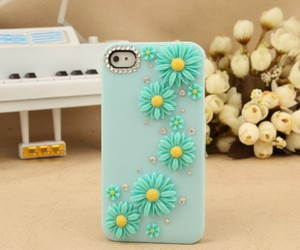 aqua, daisies, and iphone cases image