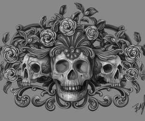ornate, roses, and skulls image