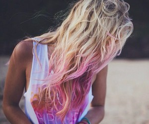beach, pink hair, and blonde image