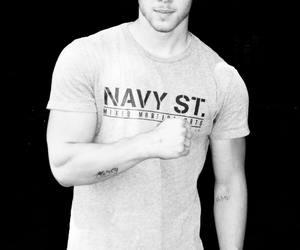 black and white, boy, and muscles image