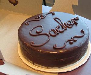 cake, chocolate, and sacher image