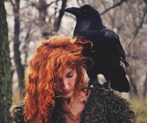 girl, raven, and witch image