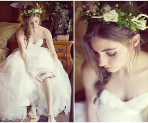 dress, white, and flower crown image