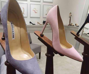 heels, manolo blahnik, and pastel colors image