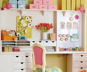 crafts, desk, and pink image