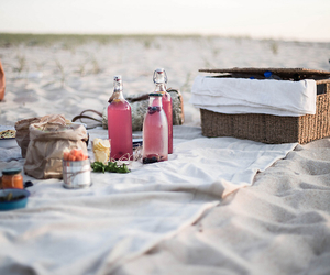 beach, picnic, and drink image