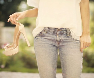 girl, high heel, and jeans image