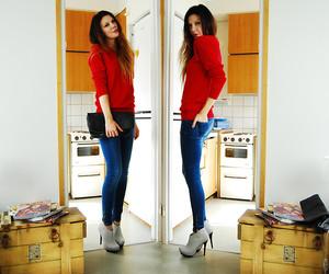 fashion, royal blue, and heels image