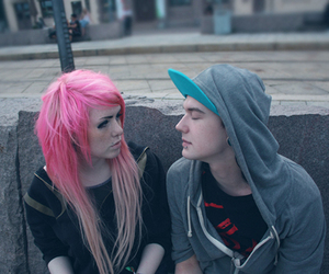 couple, girl, and pink hair image