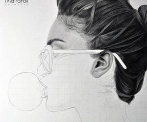 black and white, drawings, and girl image