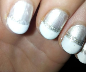 white tip nails, pearl nails, and glitter tip nails image