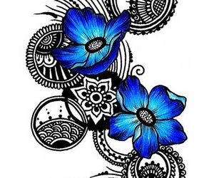 blue, flowers, and black image