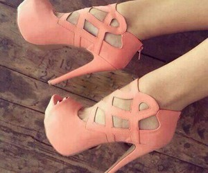 high heels, pink, and shoes image