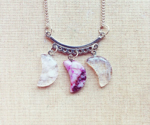 pink necklace, moon necklace, and gemstone necklace image