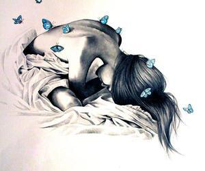 butterflies, draw, and girl image
