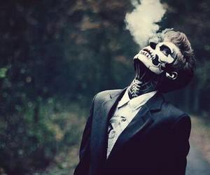boy, smoke, and skeleton image