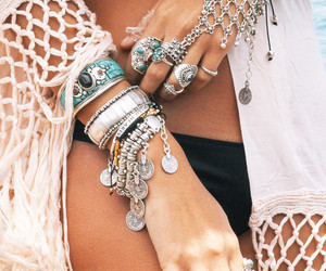 beach, bracelets, and hipster image