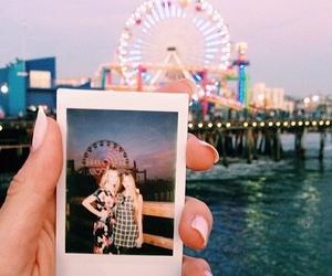 ferris wheel, girl, and polaroid image