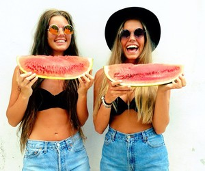 girl, watermelon, and hat image