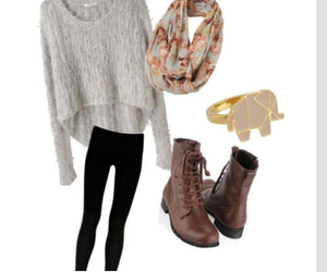 outfit, boots, and sweater image